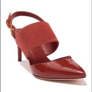 Tory Burch Ashton Ankle Strap Pumps Slingback Red